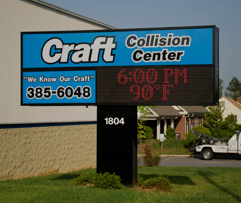 Craft Collision Center digital signage McBride